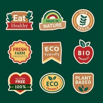 I distintivi dei prodotti biologici impostano il vettore per le campagne di marketing alimentare