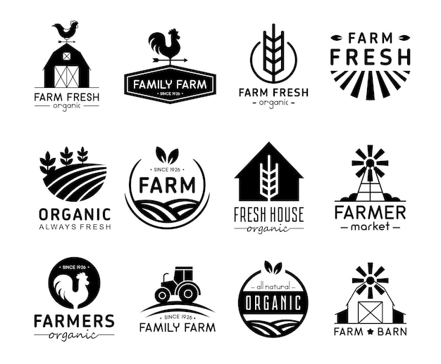 Organic products logos and labels. farm logos, fresh and healthy food logotypes collection