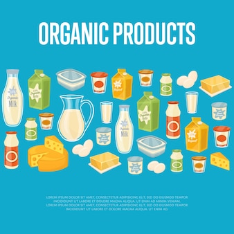 Organic products template with dairy icons