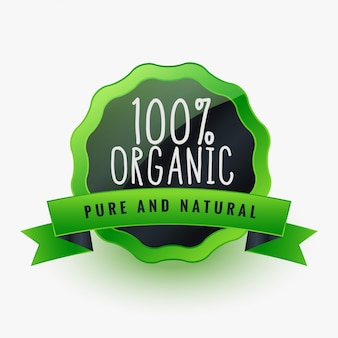 Organic pure and natural green label or sticker