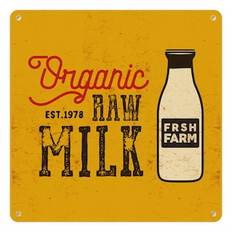 Organic raw milk poster. retro classic design