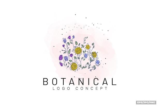 유기 복고풍 스타일 빈티지 식물 손으로 그린 꽃 최소한의 평면 컬러 로고