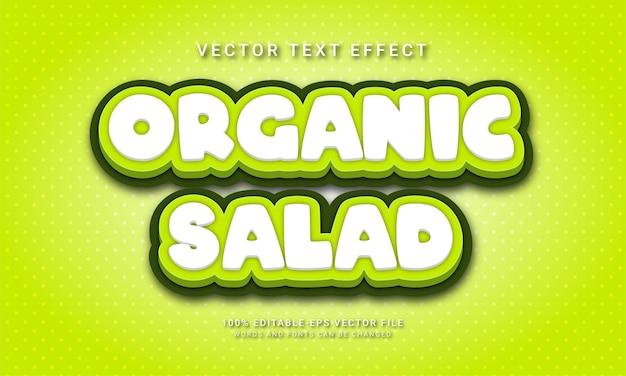 Organic salad editable text effect with healthy food menu theme