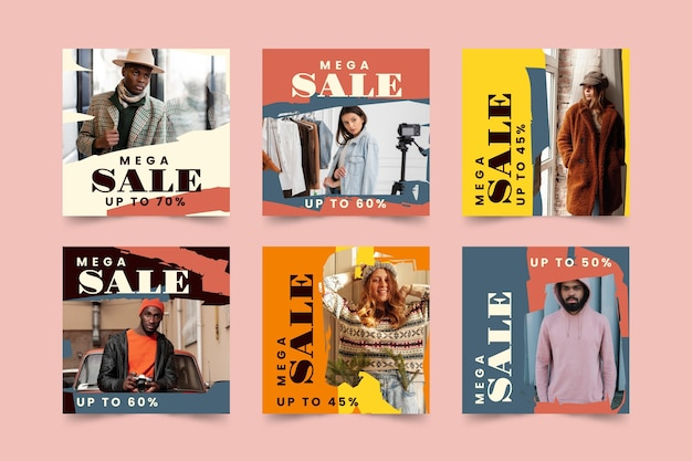 Organic sale instagram post set