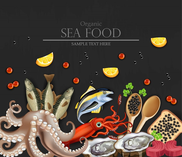 Organic sea food banner with squid and octopus