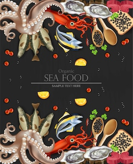 Organic sea food menu with squid and octopus