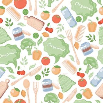 유기 원활한 패턴입니다. 생태, 녹색 친환경 라이프 스타일 배경.