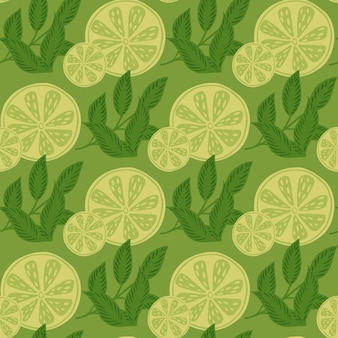 Organic seamless pattern with botany lime slices and leaves ornament. green colored summer fresh food pattern. graphic design for wrapping paper and fabric textures. vector illustration.