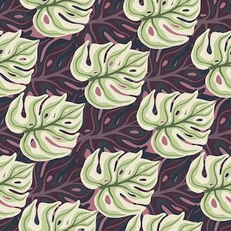 紫と緑の色のモンステラの葉の形をした有機的なシームレスパターン。熱帯のヤシの葉のプリント。