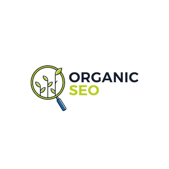 Organic seo sprout leaf search logo icon illustration