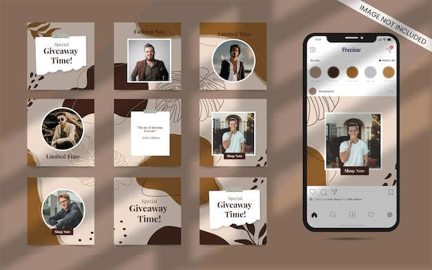 Organic shape   for social media post abstract set of instagram fashion sale promotion banner