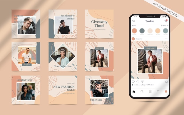 Instagram 광장 패션 판매 촉진을위한 소셜 미디어 게시물 피드 배너의 추상 세트가있는 유기적 모양