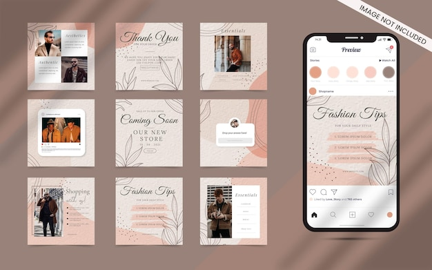 Organic shape with abstract set of social media post feed banner. instagram square fashion sale or beauty blogger promotion