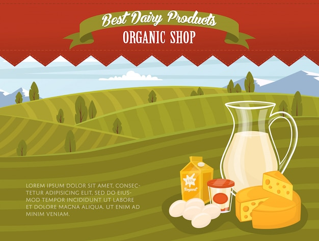 Organic shop banner with rural landscape