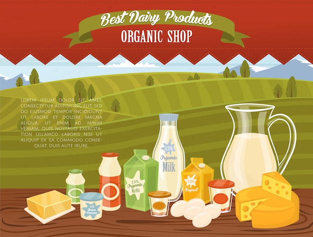 Organic shop template with rural landscape
