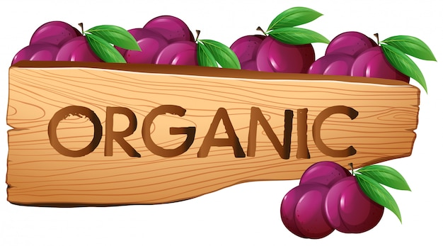 Organic sign with plums