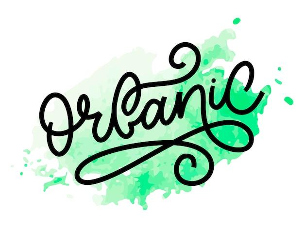 Organic slogan brush lettering. hand drawn word organic.
