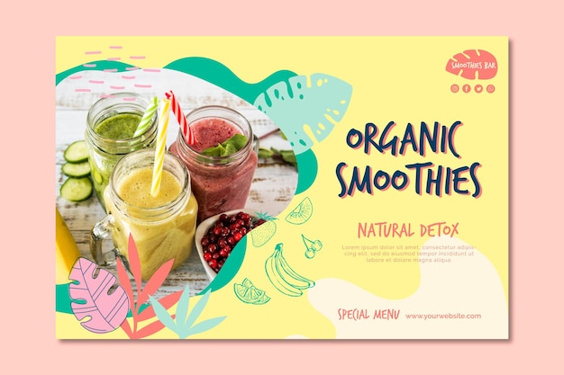 Organic smoothie natural detox banner template