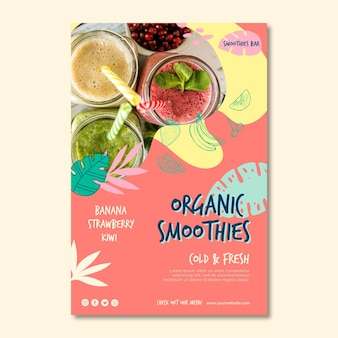 Organic smoothie natural detox poster template