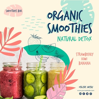 Organic smoothie natural detox square flyer