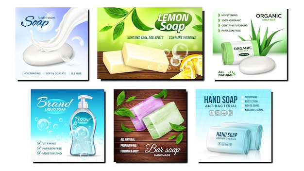 Organic soap creative promotion posters set.