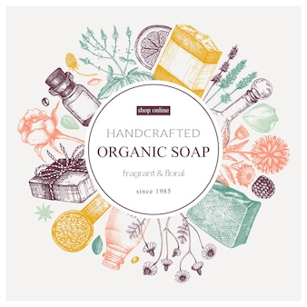 Organic soap wreath design in color handsketched aromatic materials and natural ingredients