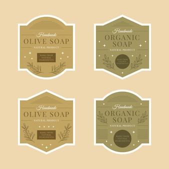 Organic soaps labels with leaves collection