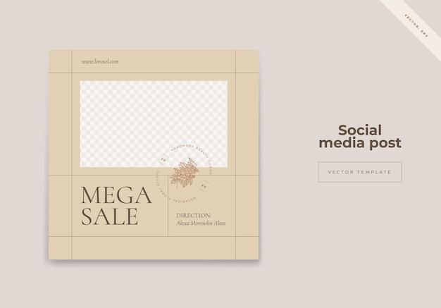 패션 판매를위한 유기 소셜 미디어 instagram 게시물 배너