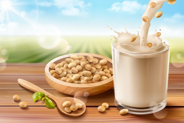 Organic soy milk ads on wooden table and bowl, bokeh green field background in 3d illustration