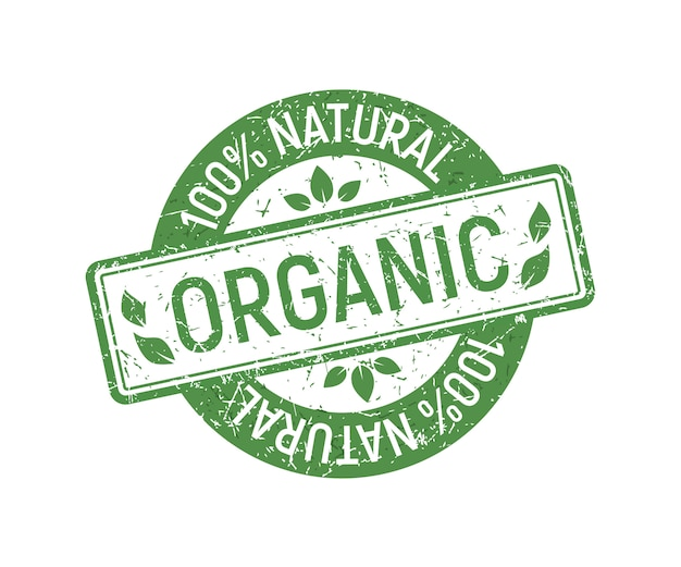 Organic stamp rubber, green ecologic natural style on grunge rubber stamp.