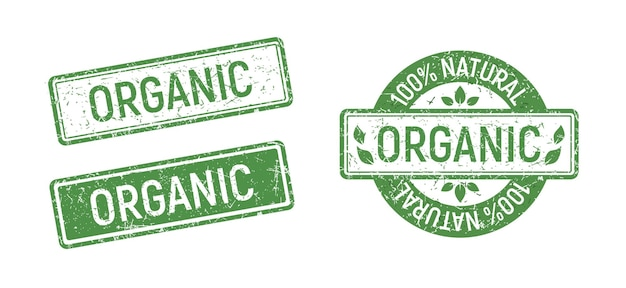 Organic stamp set green rubber badge with text for vegan product in grunge style
