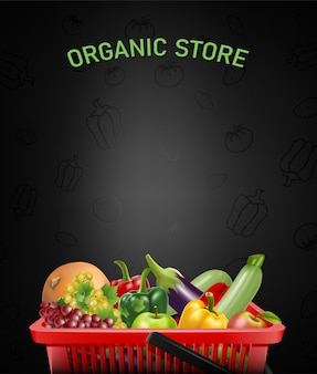 Organic store illustration with realistic shopping red basket and vegetables and fruits inside.