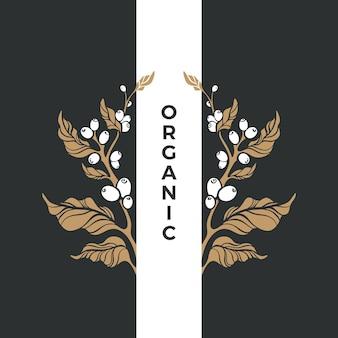 Organic symbol golden branch of coffee tree bean grain berry art nature design