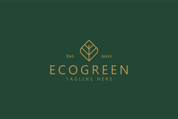 Ecogreen 빈티지 스타일 로고 개념의 유기 상징. 바이오 비즈니스 회사.