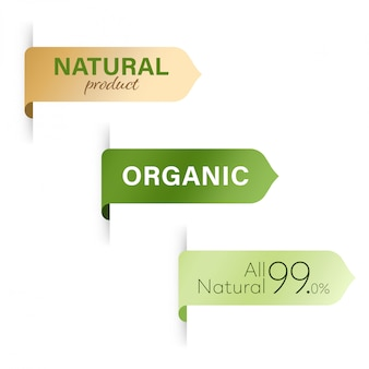 Organic tag and natural green label banner design