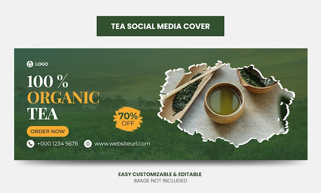 유기농 차 소셜 미디어 facebook 표지 사진 템플릿
