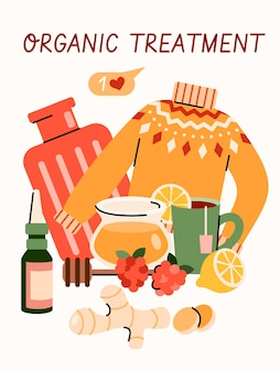 風邪やインフルエンザのウイルスに対する有機治療-家庭用の治療用オブジェクトを含む漫画のポスター蜂蜜、生姜、レモンティー、その他の自然療法組成、イラスト。
