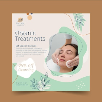 Organic treatments squared flyer template