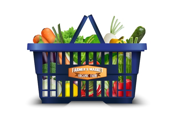 Organic vegetable in shopping basket