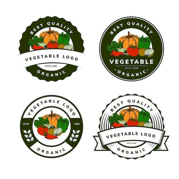 有機野菜テンプレートバッジデザイン