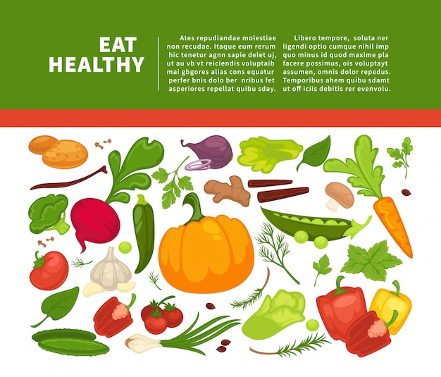 Organic vegetables food poster background template for dietary vegetarian eating or vegan diet.