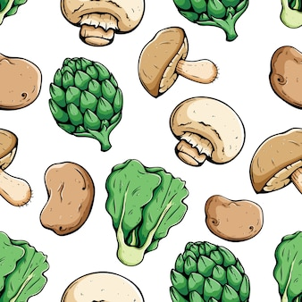 Organic vegetables food seamless pattern with colored sketch or hand drawn style