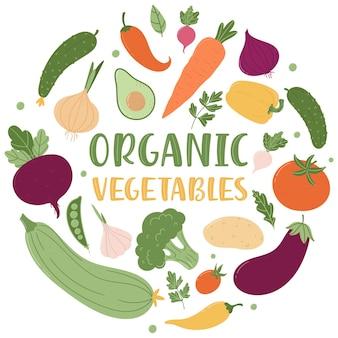 Органические овощи. круглая композиция из множества свежих овощей и надписи.