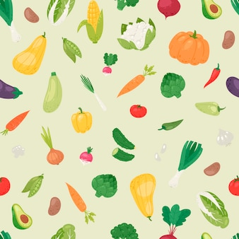 Organic vegetables seamless pattern.