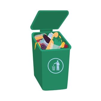 열린 녹색 쓰레기통에 누워있는 유기 폐기물