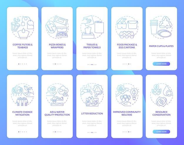 Сокращение органических отходов на экране страницы мобильного приложения с набором концепций. бумажный материал, пошаговое руководство по изменению климата. шаблон пользовательского интерфейса