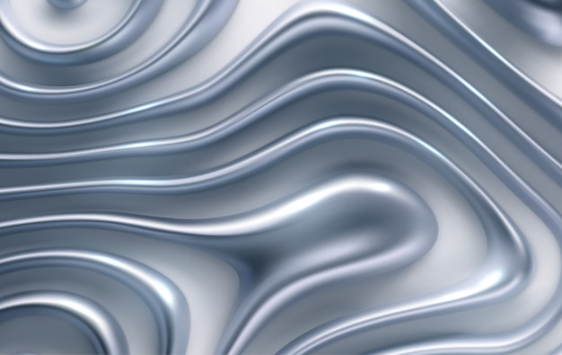 Organic wavy silver stripes. abstract 3d background.   realistic illustration. topography pattern. jewelry decoration. luxury ornament.