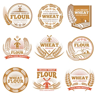 Organic wheat flour, farming grain products  labels and logos