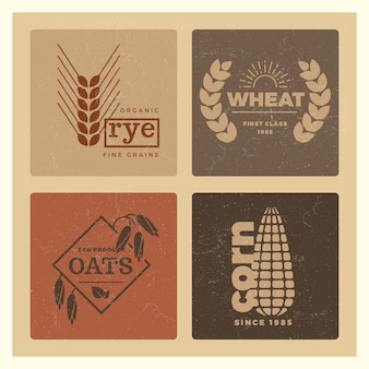 Organic wheat grain farming agriculture logo set