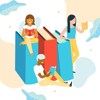 Organic world book day illustration with women reading